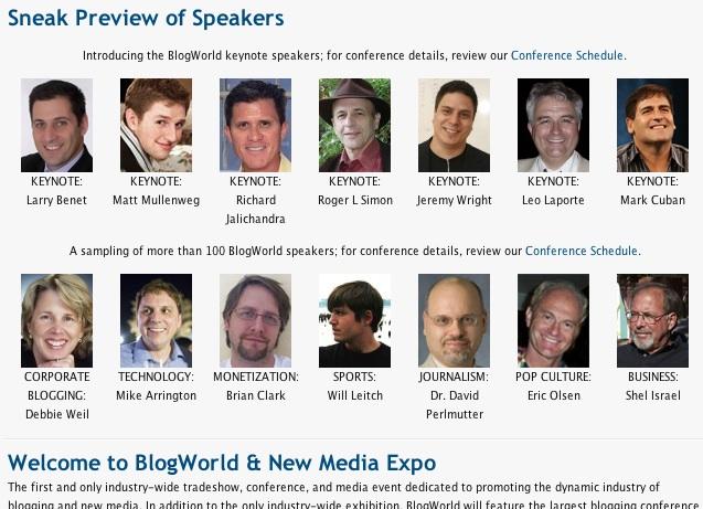BlogWorld Expo Speakers Sample