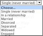 Engage.com Relationship Status Options